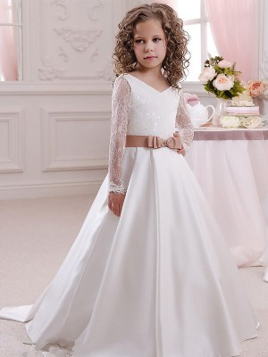 Ball Gown Lace V-neck Long Sleeves Floor-Length Satin Flower Girl Dresses
