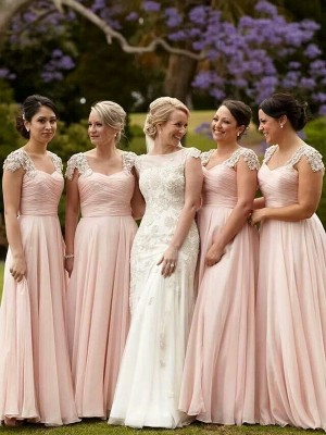 A-Line/Princess Beading Square Short Sleeves Floor-Length Chiffon Bridesmaid Dresses