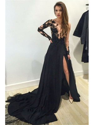 A-Line/Princess Lace Bateau Long Sleeves Court Train Chiffon Dresses
