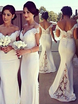 Trumpet/Mermaid Lace Off-the-Shoulder Sleeveless Sweep/Brush Train Satin Bridesmaid Dresses