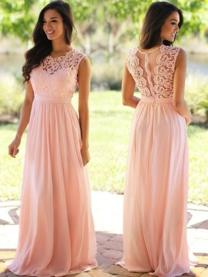 A-Line/Princess Applique Scoop Sleeveless Floor-Length Chiffon Bridesmaid Dresses