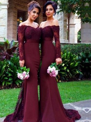 Trumpet/Mermaid Off-the-Shoulder Long Sleeves Sweep/Brush Train Satin Bridesmaid Dresses