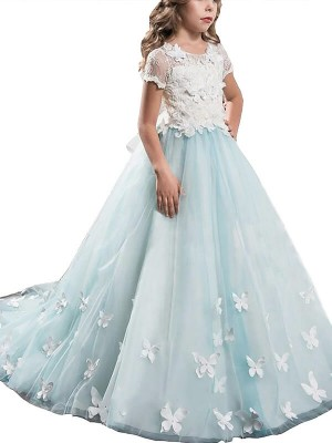 A-Line/Princess Lace Scoop Short Sleeves Floor-Length Tulle Flower Girl Dresses