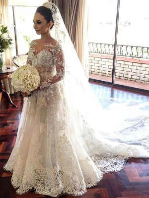 A-Line/Princess Lace Bateau Long Sleeves Chapel Train Tulle Wedding Dresses