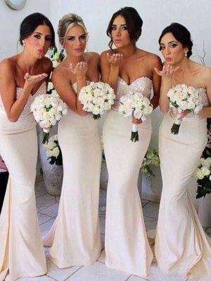 Trumpet/Mermaid Beading Sweetheart Sleeveless Sweep/Brush Train Satin Bridesmaid Dresses