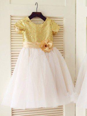 A-Line/Princess Sequin Scoop Short Sleeves Tea-length Tulle Flower Girl Dresses