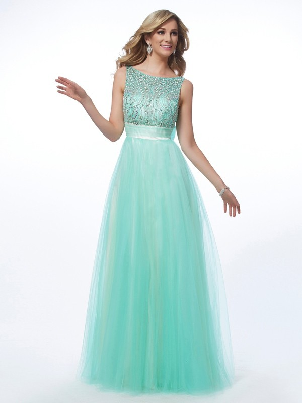 A-Line/Princess Beading Bateau Sleeveless Floor-Length Net Dresses
