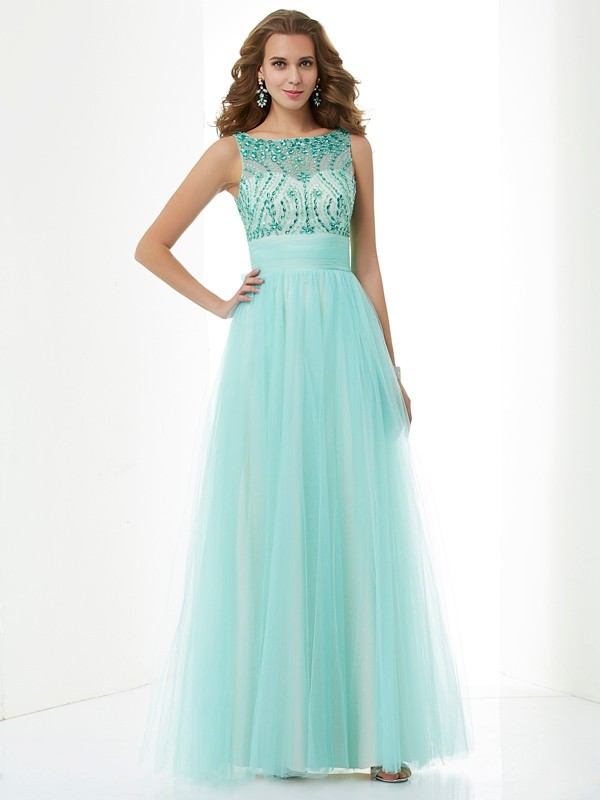 A-Line/Princess Beading Bateau Sleeveless Floor-Length Elastic Woven Satin Dresses