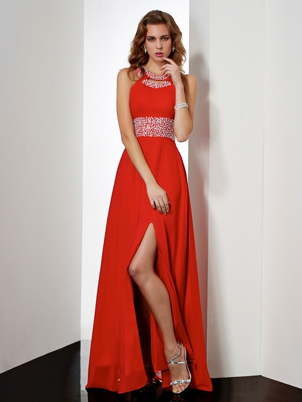 Empire Acrylic Jewels Jewel Sleeveless Floor-Length Chiffon Dresses