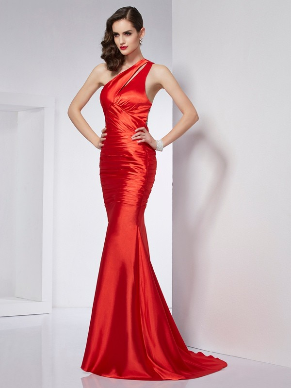 Sheath/Column Beading One-Shoulder Sleeveless Sweep/Brush Train Elastic Woven Satin Dresses