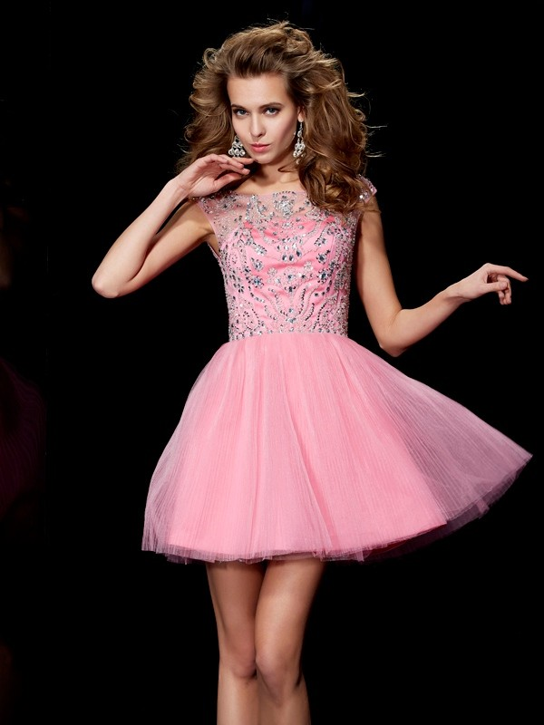 A-Line/Princess Beading Bateau Sleeveless Short/Mini Satin Dresses