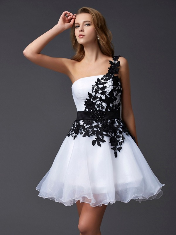 A-Line/Princess Lace One-Shoulder Sleeveless Short/Mini Organza Dresses