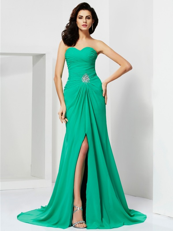 Sheath/Column Beading Sweetheart Sleeveless Sweep/Brush Train Chiffon Dresses