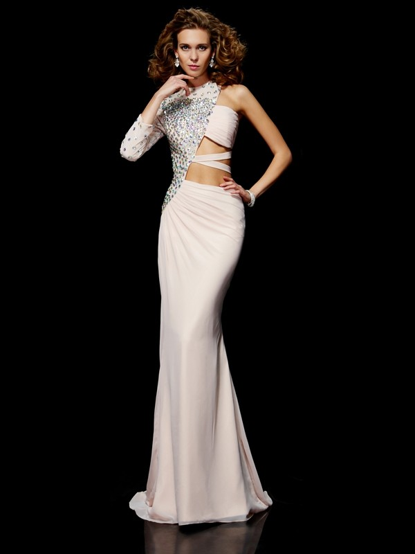 Sheath/Column Beading One-Shoulder Sleeveless Sweep/Brush Train Chiffon Dresses