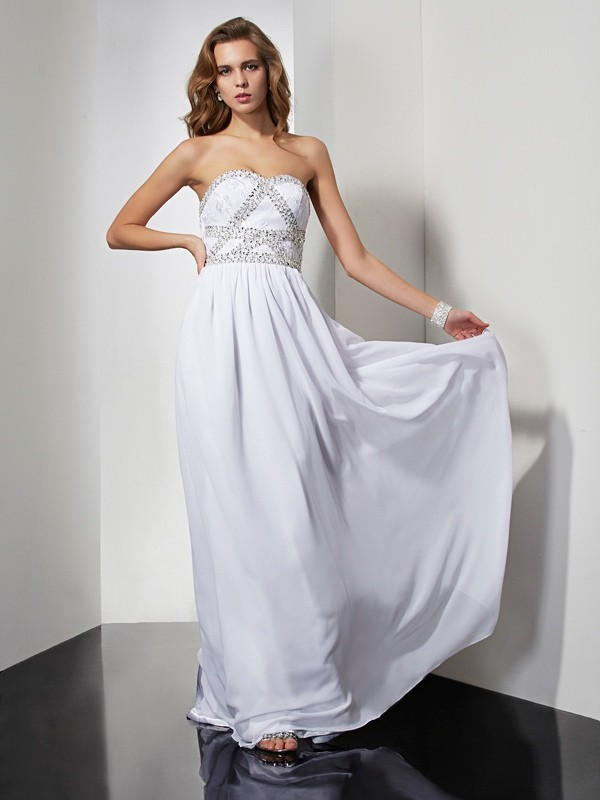 Sheath/Column Beading Strapless Sleeveless Floor-Length Chiffon Dresses