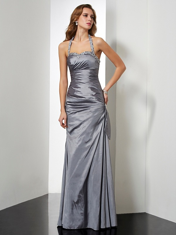 Trumpet/Mermaid Beading Halter Sleeveless Floor-Length Taffeta Dresses