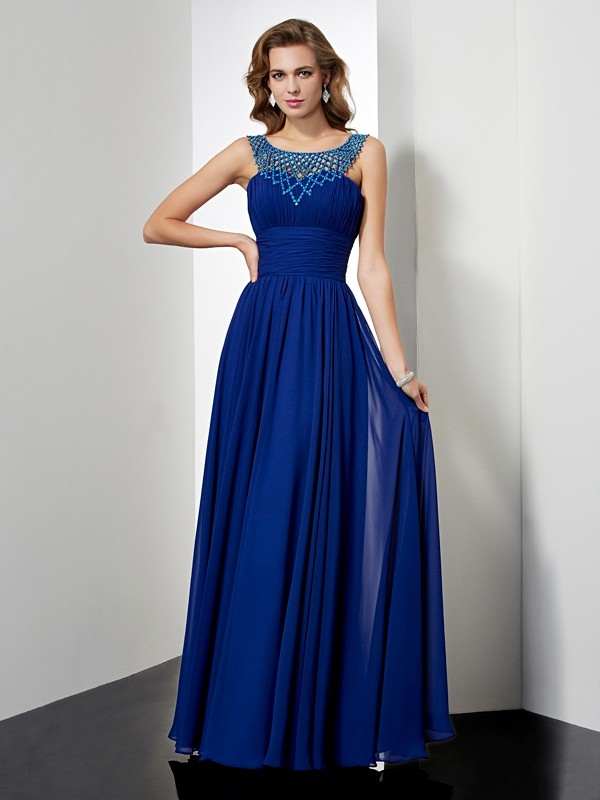 Empire Beading High Neck Sleeveless Floor-Length Chiffon Dresses