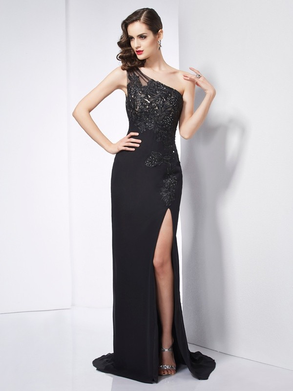 Sheath/Column Applique One-Shoulder Sleeveless Sweep/Brush Train Chiffon Dresses