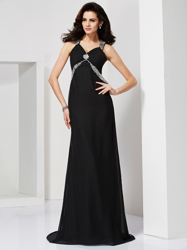 Sheath/Column Beading Straps Sleeveless Sweep/Brush Train Chiffon Dresses