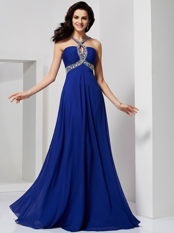 A-Line/Princess Beading Other Sleeveless Sweep/Brush Train Chiffon Dresses