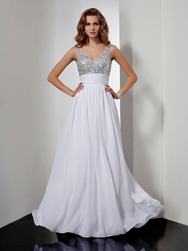A-Line/Princess Rhinestone V-neck Sleeveless Floor-Length Chiffon Dresses