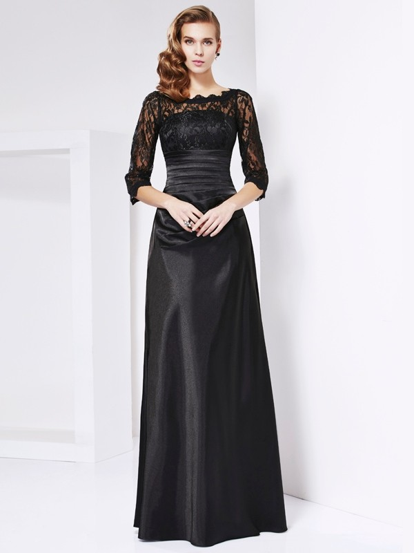 Sheath/Column Lace Off-the-Shoulder 3/4 Sleeves Floor-Length Elastic Woven Satin Mother of the Bride Dresses