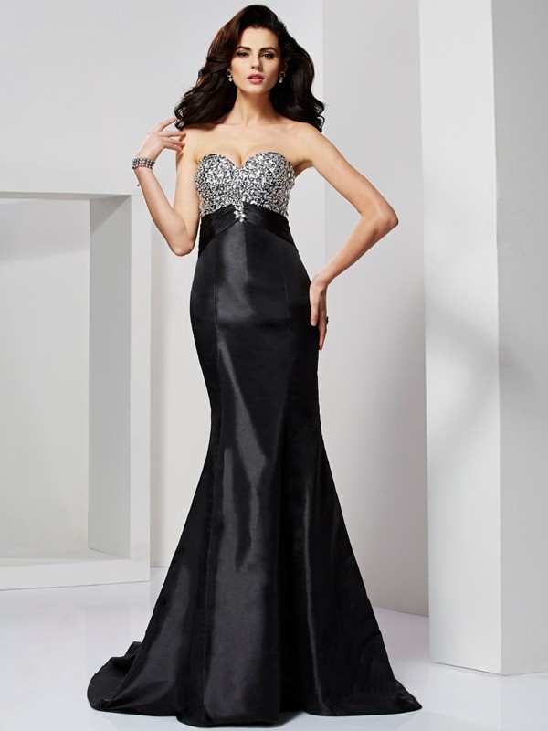 Trumpet/Mermaid Beading Sweetheart Sleeveless Sweep/Brush Train Taffeta Dresses