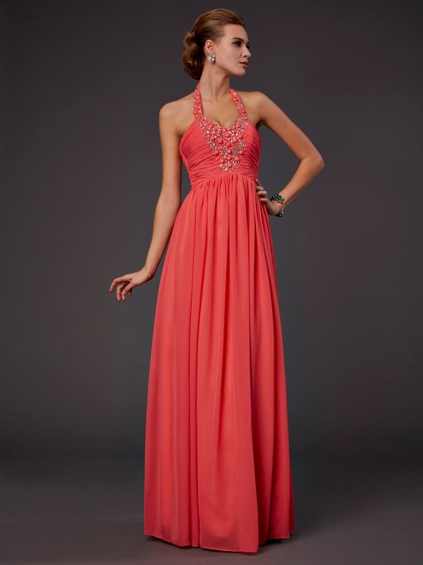 A-Line/Princess Beading Halter Sleeveless Floor-Length Chiffon Dresses