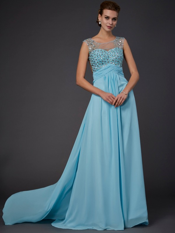 A-Line/Princess Beading Scoop Sleeveless Sweep/Brush Train Chiffon Dresses