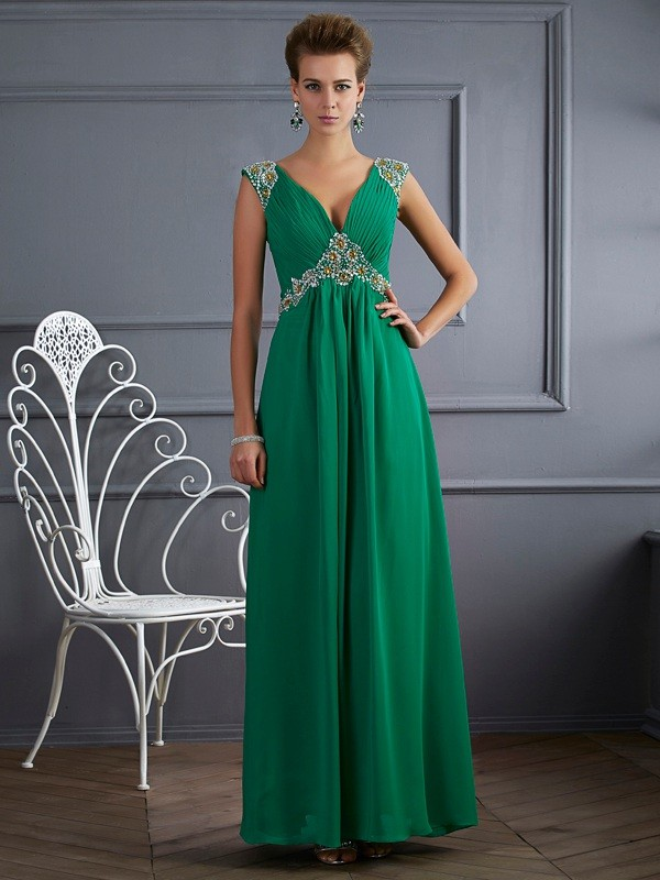 A-Line/Princess Beading V-neck Short Sleeves Ankle-Length Chiffon Dresses
