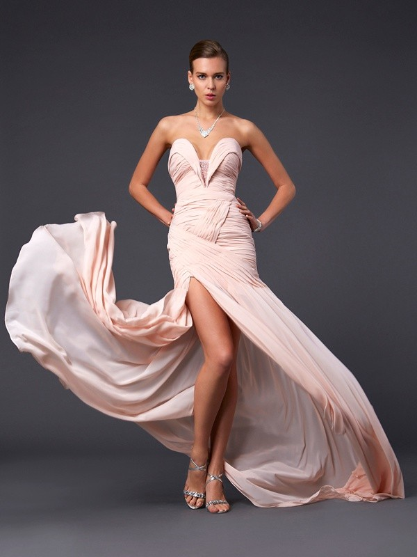 Sheath/Column Pleats Sweetheart Sleeveless Sweep/Brush Train Chiffon Dresses