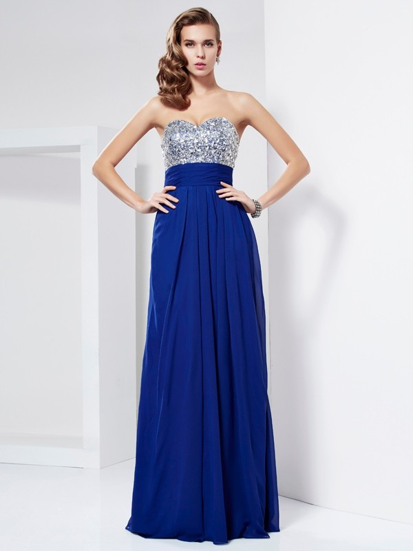 Sheath/Column Rhinestone Sweetheart Sleeveless Floor-Length Chiffon Dresses