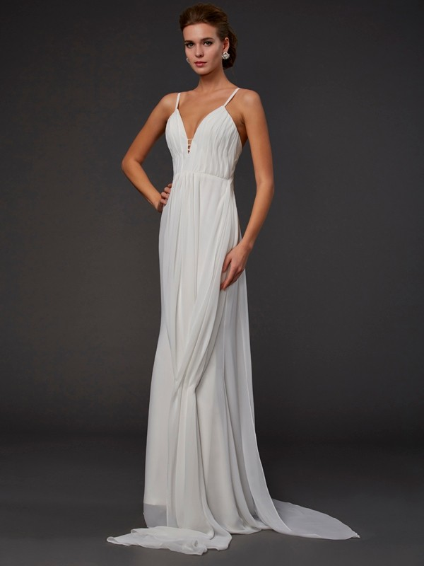 Trumpet/Mermaid Ruffles V-neck Sleeveless Floor-Length Chiffon Dresses