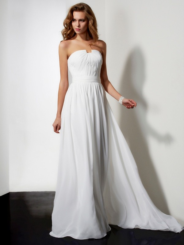 A-Line/Princess Ruffles Strapless Sleeveless Sweep/Brush Train Chiffon Dresses