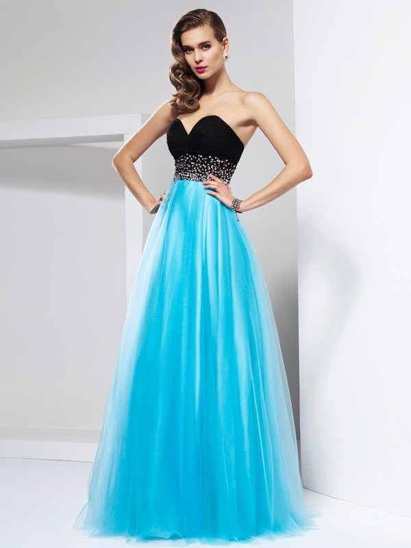 A-Line/Princess Sash/Ribbon/Belt Sweetheart Sleeveless Floor-Length Net Dresses