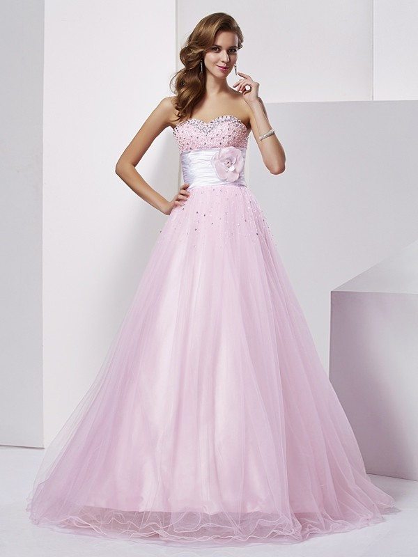 Ball Gown Beading Strapless Sleeveless Floor-Length Elastic Woven Satin Dresses