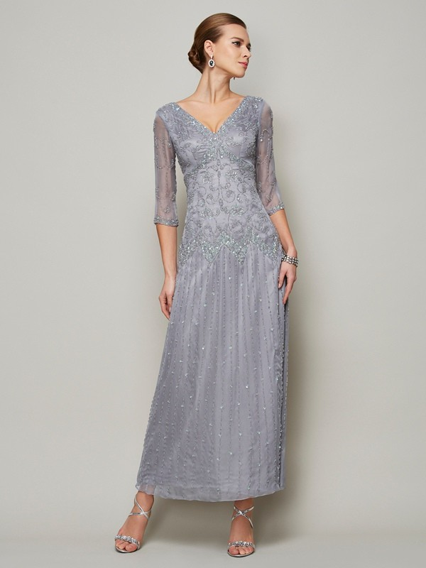 Sheath/Column Beading V-neck 1/2 Sleeves Ankle-Length Elastic Woven Satin Mother of the Bride Dresses