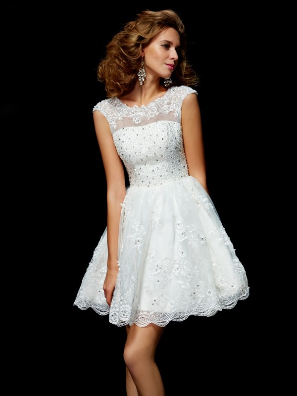 A-Line/Princess Applique V-neck Short Sleeves Short/Mini Organza Dresses