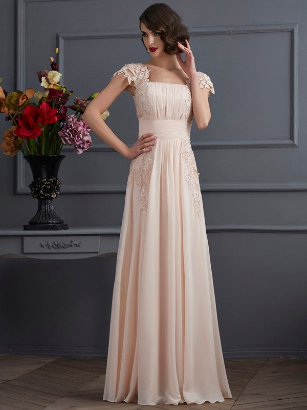 A-Line/Princess Lace Square Short Sleeves Floor-Length Chiffon Dresses