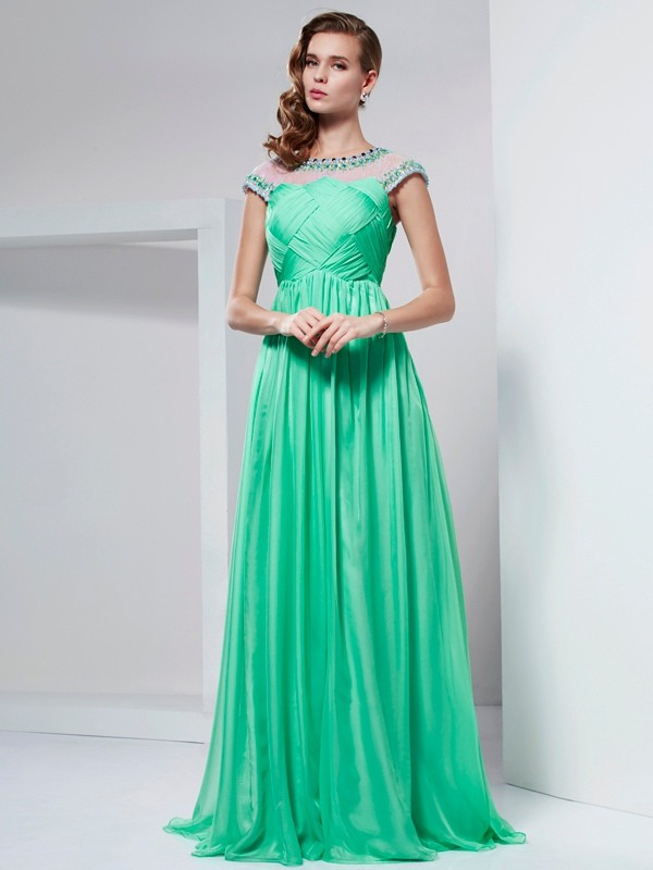 A-Line/Princess Beading High Neck Short Sleeves Floor-Length Chiffon Dresses