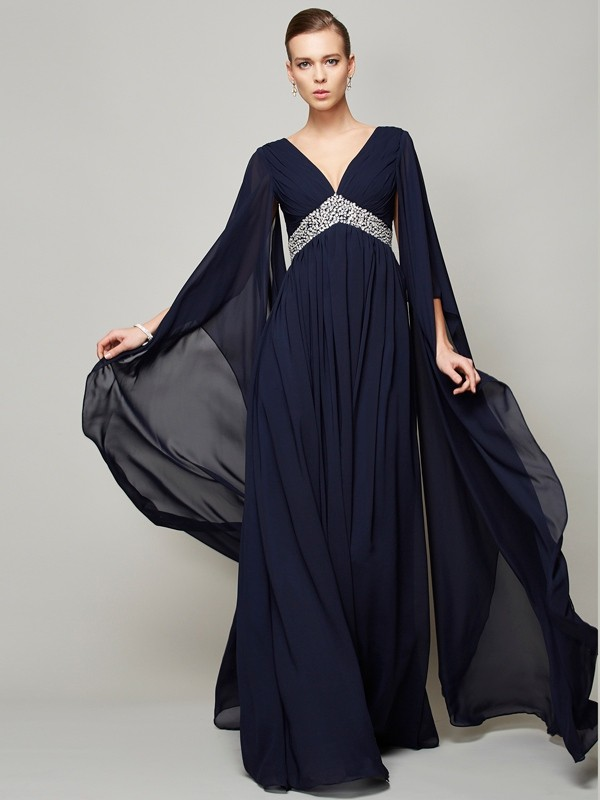 A-Line/Princess Beading V-neck Long Sleeves Floor-Length Chiffon Dresses