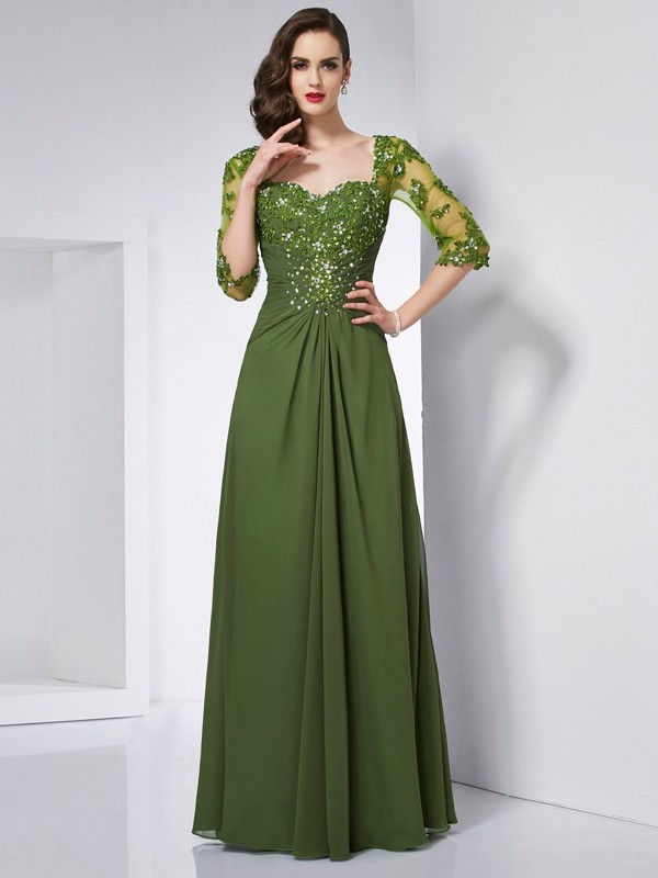 A-Line/Princess Beading Sweetheart 3/4 Sleeves Floor-Length Chiffon Dresses