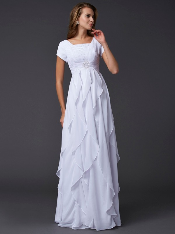 Sheath/Column Ruffles Square Short Sleeves Floor-Length Chiffon Dresses