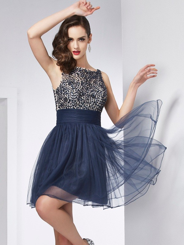 Sheath/Column Beading Bateau Sleeveless Short/Mini Tulle Dresses