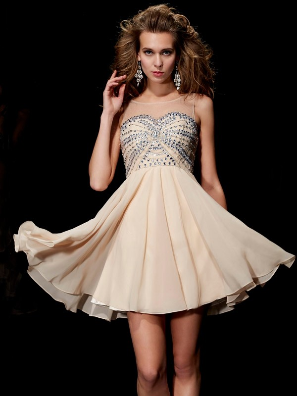 A-Line/Princess Beading Scoop Sleeveless Short/Mini Chiffon Dresses