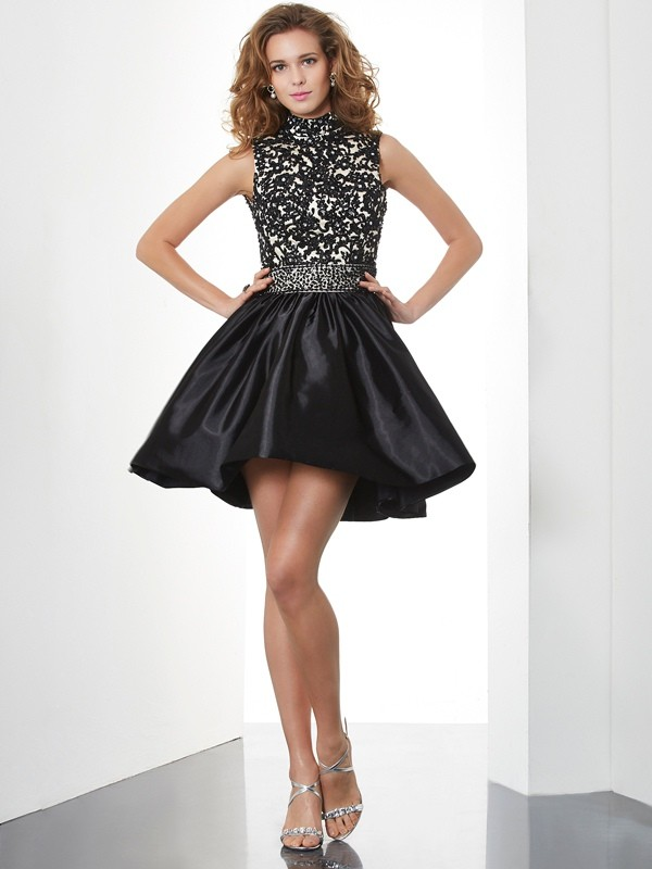 A-Line/Princess Beading High Neck Sleeveless Short/Mini Taffeta Dresses