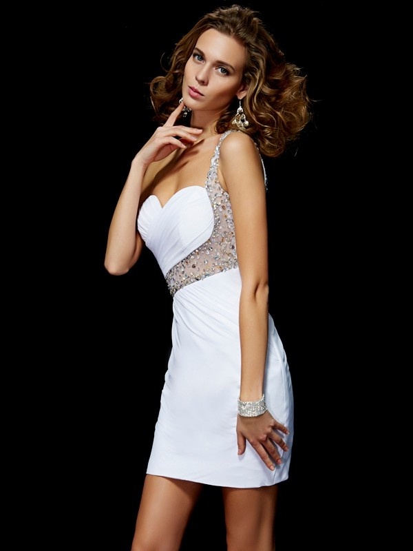 A-Line/Princess Sequin One-Shoulder Sleeveless Short/Mini Chiffon Dresses