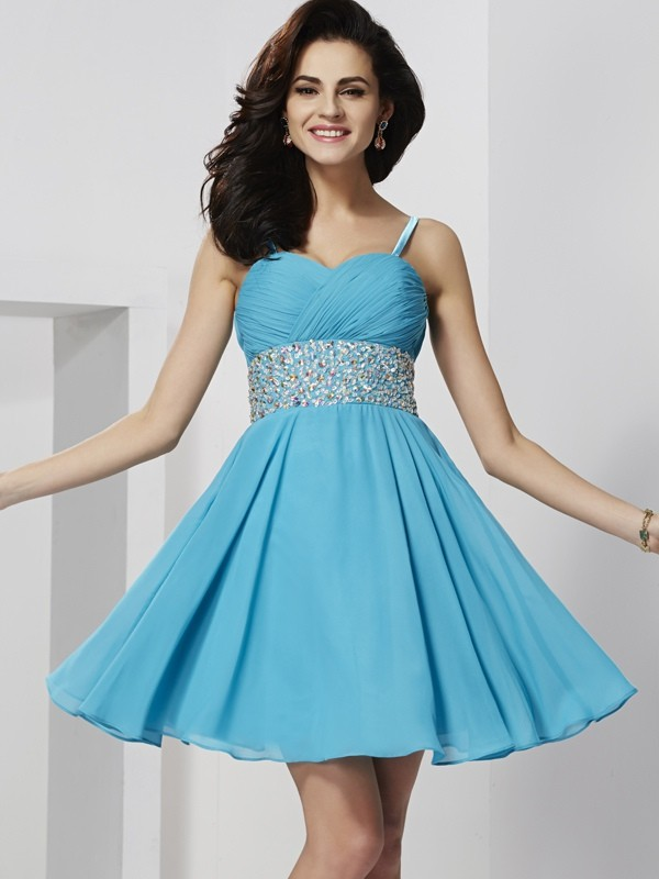 A-Line/Princess Rhinestone Spaghetti Straps Sleeveless Short/Mini Chiffon Dresses