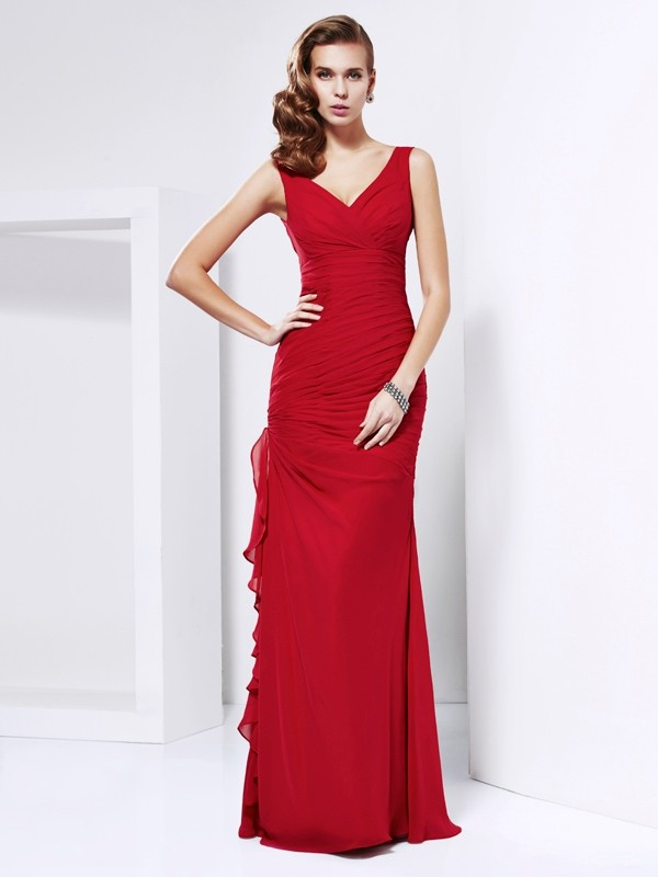 Sheath/Column Ruched V-neck Sleeveless Floor-Length Chiffon Dresses