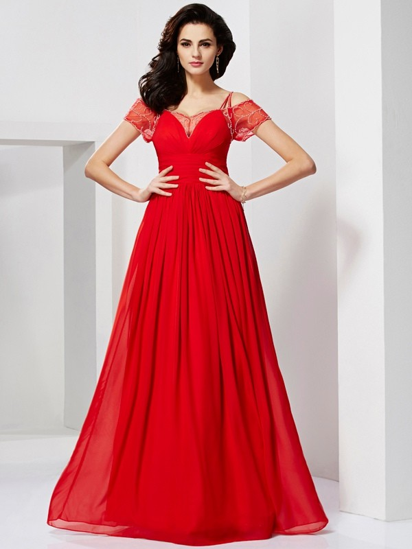 A-Line/Princess Beading Spaghetti Straps Short Sleeves Floor-Length Chiffon Dresses